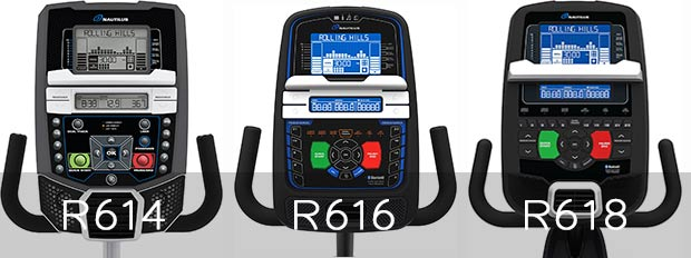 Nautilus R614 vs R616 vs R618 LCD display
