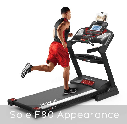 Sole F80 folding treadmill appearance