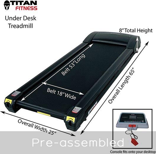 Titan Fitness Under Desk treadmill pre-assembled design
