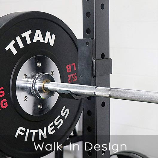 Titan Fitness power rack walk-in design