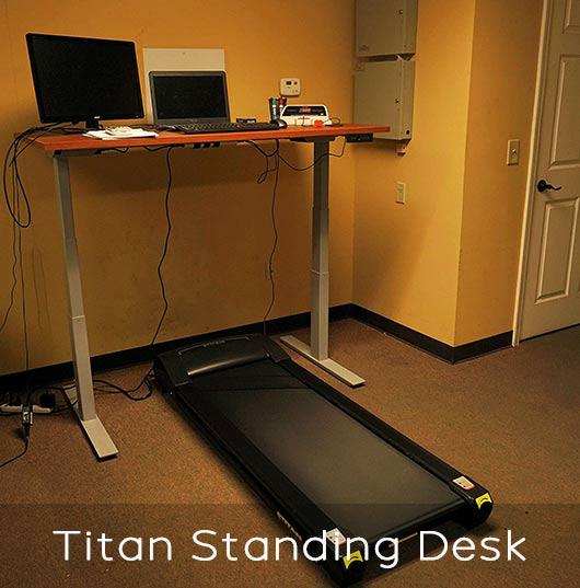 Titan Fitness standing desk and treadmill