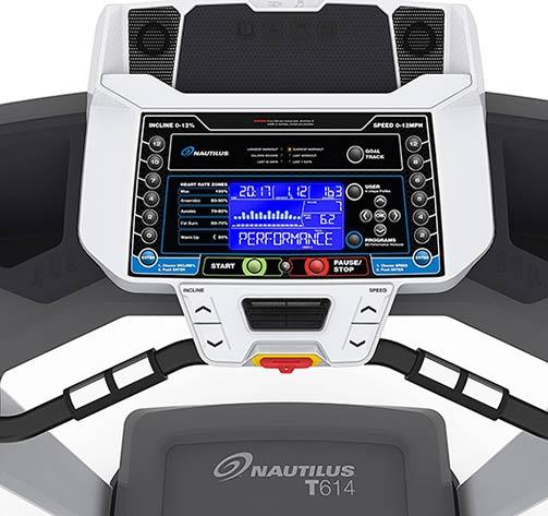 Nautilus T614 treadmill LCD console