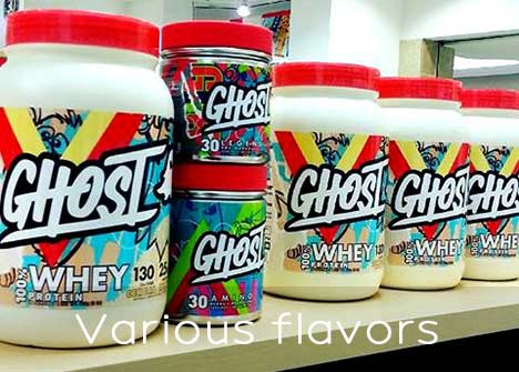 Various flavors of ghost whey protein